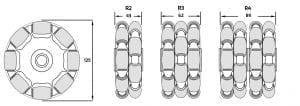 125 mm Rotacaster Wheels Dimensions