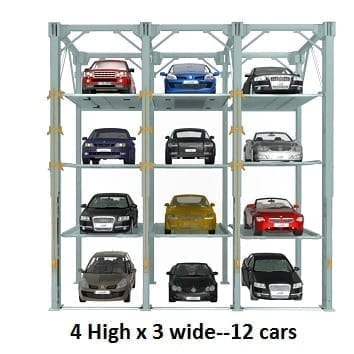 4 High x 3 wide - 12 cars