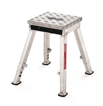 Aluminium Step Stool Chequer Plate Top 326mm SQ Adjustable Height 430 560mm