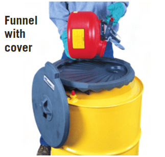 funnel with cover spill control