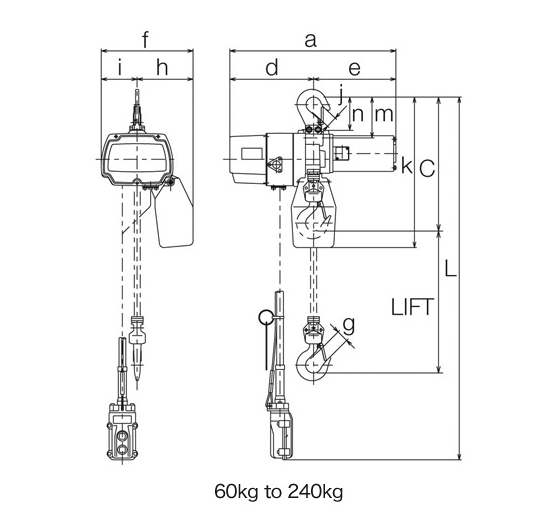 Compact Electric Chain Hoist Specs Single Speed with Hook Suspension