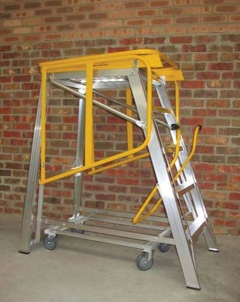 Custom Made Aluminium Access Platforms Folding Safety Rail Mobile Platform Rails Closed