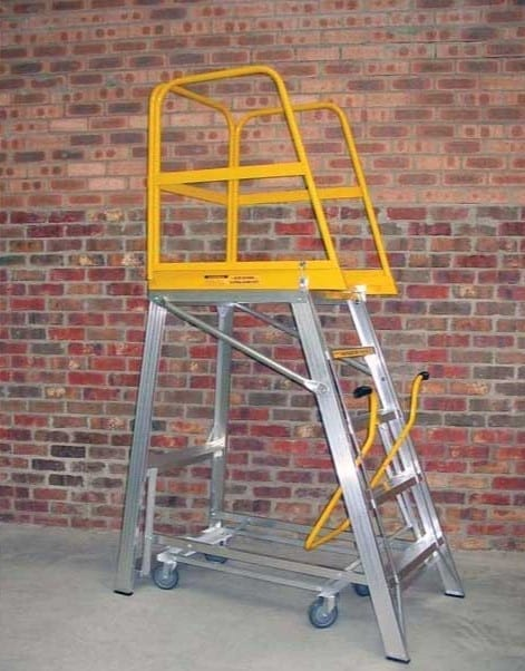 Custom Made Aluminium Access Platforms Folding Safety Rail Mobile Platform Rails Open