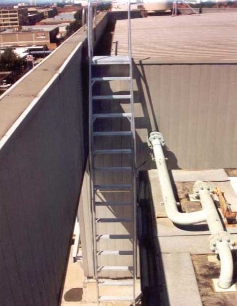 Custom Made Aluminium Access Platforms Parapet Ladder Fixed Frame