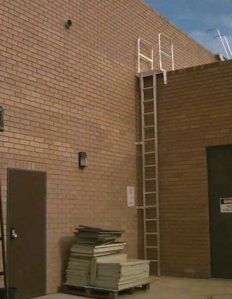 Custom Made Aluminium Access Platforms Secure Commercial Access Ladder Open