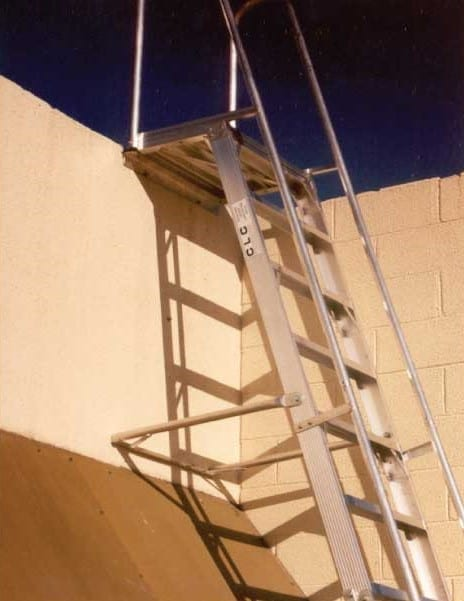 Custom Made Aluminium Access Platforms Stand Off Parapet Ladder