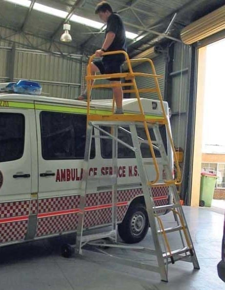 Custom Made Aluminium Access Platforms Vehicle Maintenance NSW Ambulance Service
