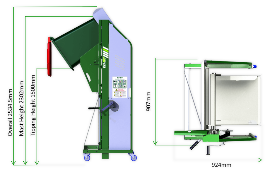 Ezi MT Wheelie Bin Tipper - Measurements