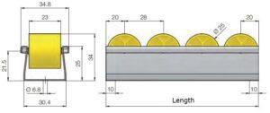 Floway Gravity Wheel Conveyor Track Dims
