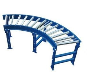 Gravity conveyor curve with support stands