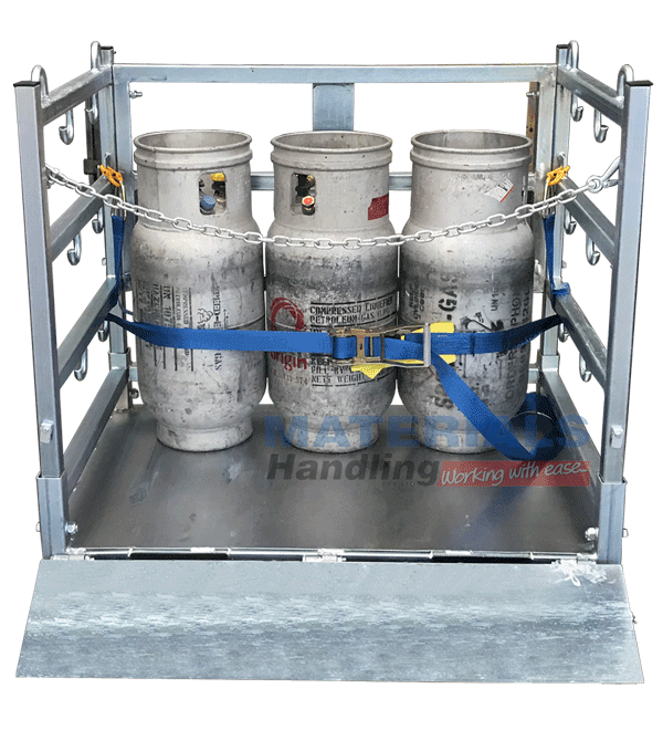 MSGC80 Gas Cylinder Stillage Cage with folding ramp