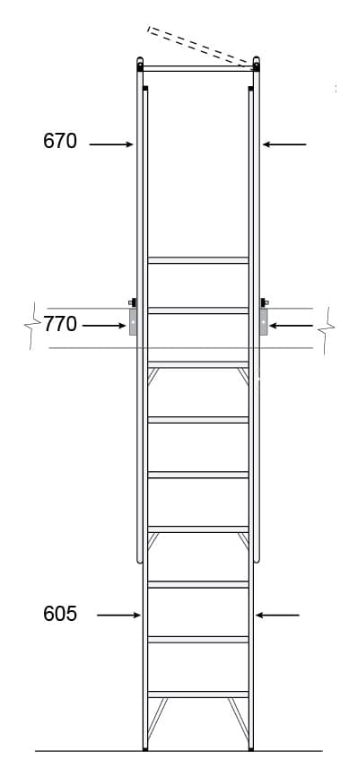 Mezzalad Ladder Drawing Height