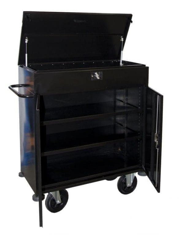Mini Bar Cart BWHMB11LB open doors