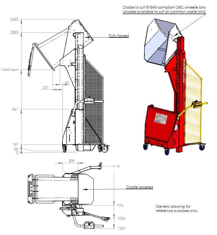 Multi Tip Wheelie Bin Tipper Dimensions