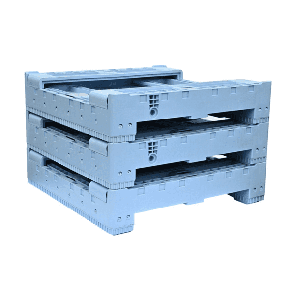 OZCRATE Foldable Plastic Pallet Bin Half Height Collapsed Stacked