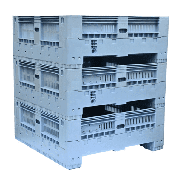 OZCRATE Foldable Plastic Pallet Bin Half Height Stacked