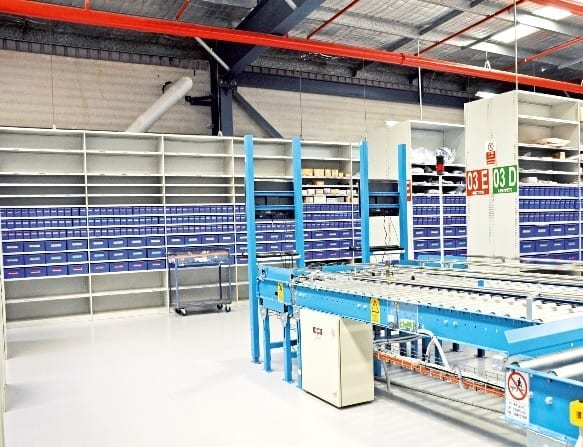 Parts trays in large warehouse