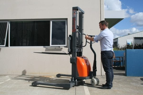 Quikstak S10 Semi Electric Stacker in use