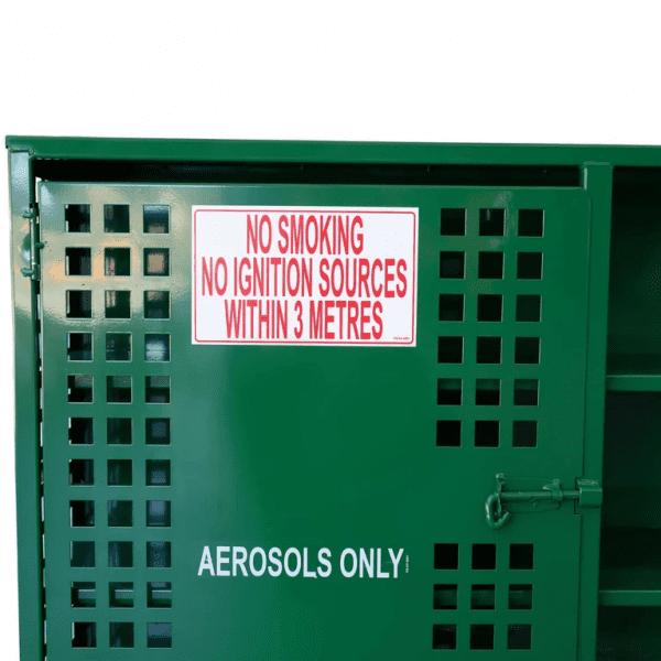 SAC004 Aerosol Can Storage Cages warning label