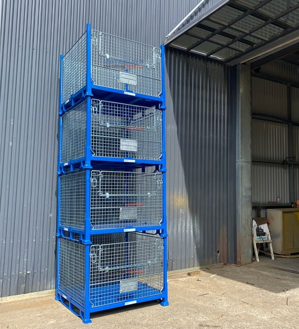 SMMC01 Collapsible Stillage Cage Stacked 4 High Empty