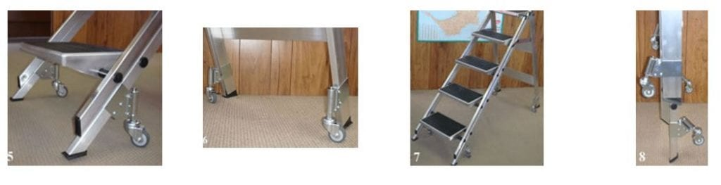 Spring Loaded Castors Aluminium Safety Steps