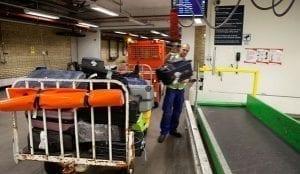 Vaculex Airport Baggage Handling - cart to conveyor