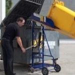 Hand Hydraulic Wheelie Bin Tipper in action