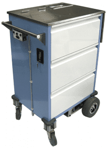 Medication trolley with bolt on drive